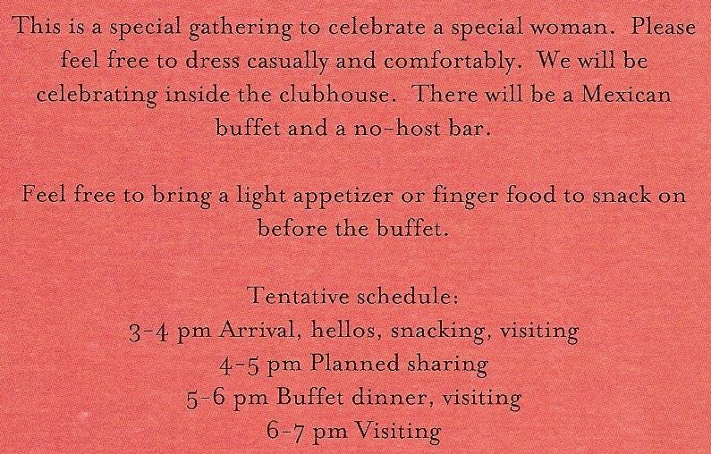 Back of Mom's Celebration Invitation for post Day of COL