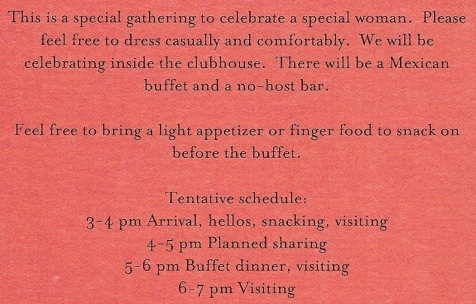 Back of Mom's Celebration Invitation for post Day of COL